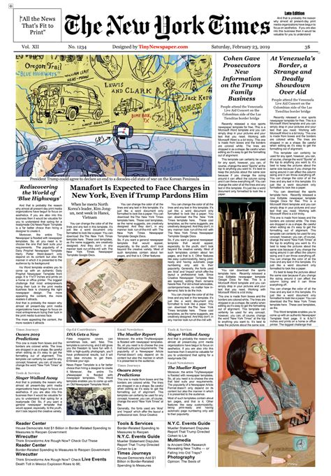 Newspaper Template Google Docs New York Times Newspaper Template Docs