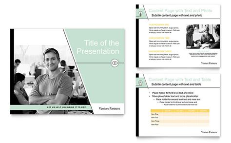 presentation and layout of web newspaper venture capital firm powerpoint presentation template design