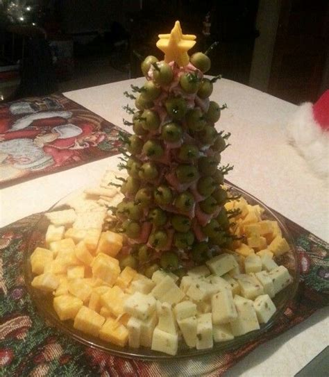 appetizer christmas tree meat cheese tray ham roast