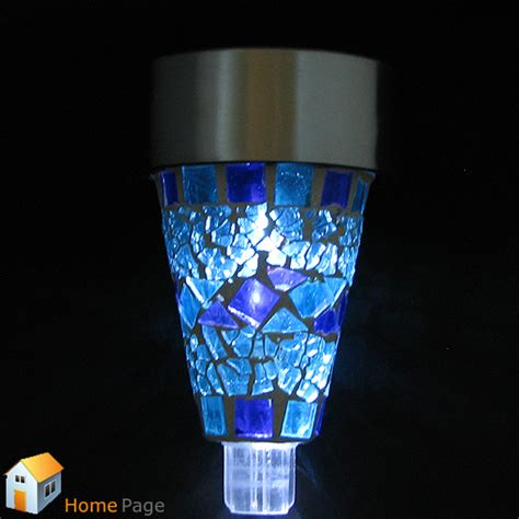 Solar Mosaic Garden Lights 2pcs Blue Mosaic Designed Outdoor Garden Solar Powered