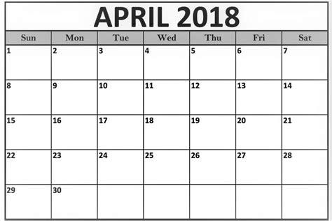 Calendar Template To Print print april 2018 calendar