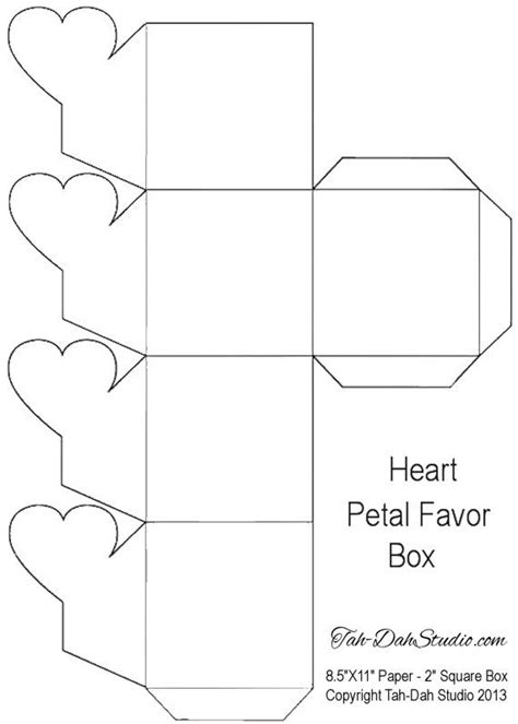 free printable templates for gift boxes petal gift favor box hearts printable by