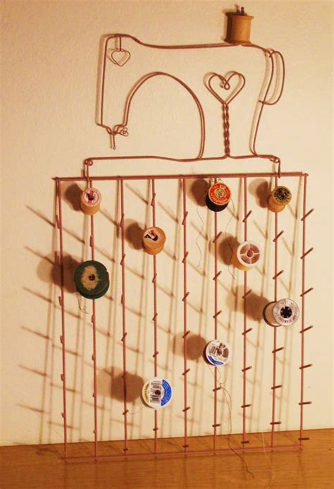 wire sewing machine thread spool rack holder organizer wall
