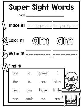 Kindergarten sight word practice sheets! by Amy Ginn   TpT