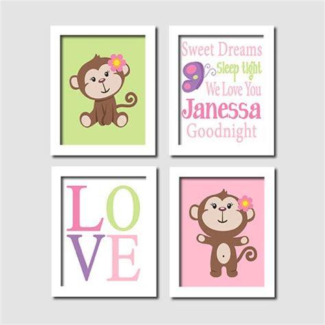 Monkey Wall Decor For Nursery Monkey Nursery Wall Pink Purple By Lovelyfacedesigns Nursery Ideas Pinterest