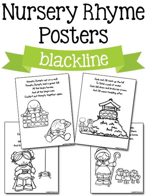 printable nursery rhymes nursery rhyme posters in blackline free printables gka