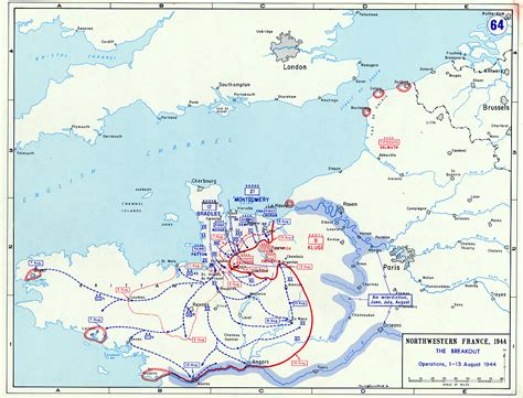 breakout map map map depicting the allied breakout in normandy