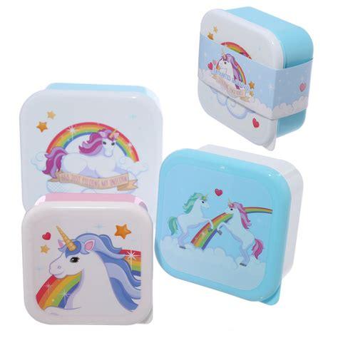 Lunch Box 5 Sekat Unicorn set of 3 lunch boxes enchanted rainbows unicorn design 17123 puckator ltd