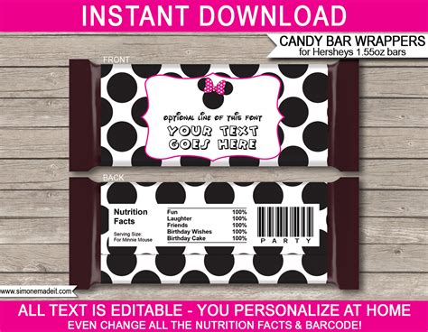 minnie mouse hershey candy bar wrappers personalized