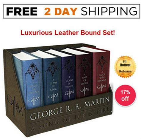 game of thrones hardcover collection set george r r game of thrones box set leather bound boxed george r r martin 5 book complete 1101965487 ebay