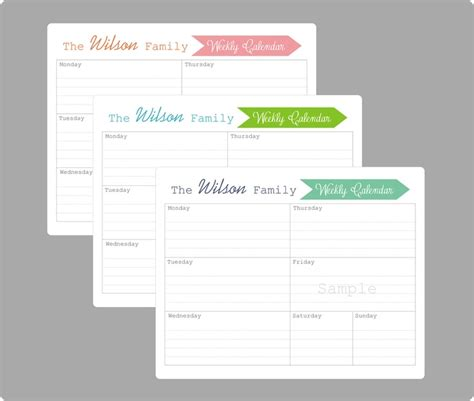 printable weekly calendar for moms weekly family calendar 3 custom pages printable pdf
