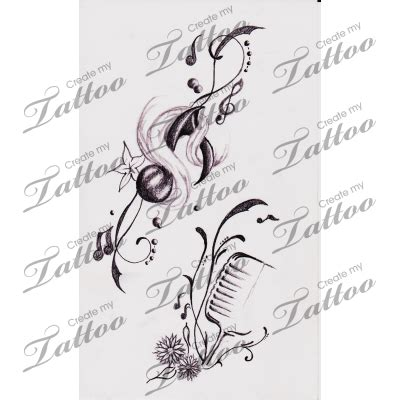 music tattoo png drawn music notes music mic pencil and in color drawn