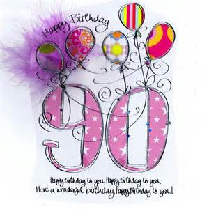 card age 90th birthday pink balloons