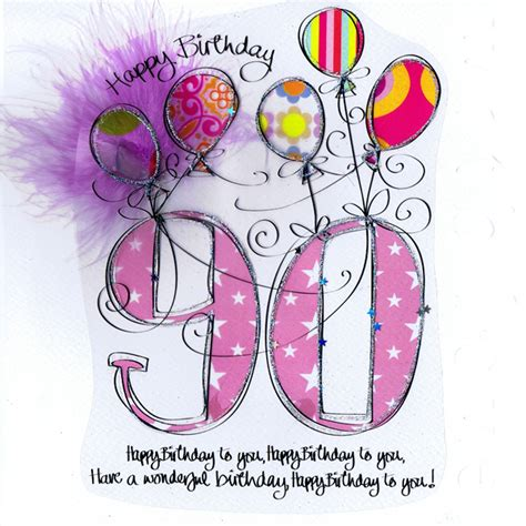 90th Birthday Cards Card Age 90th Birthday Pink Balloons
