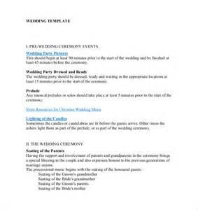 wedding ceremony template 19 wedding ceremony templates free sle exle