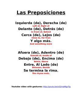 spanish prepositions, las preposiciones rhyme by spanish