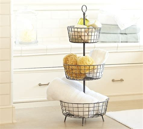 pottery barn bathroom storage tiered bath storage traditional bathroom accessories