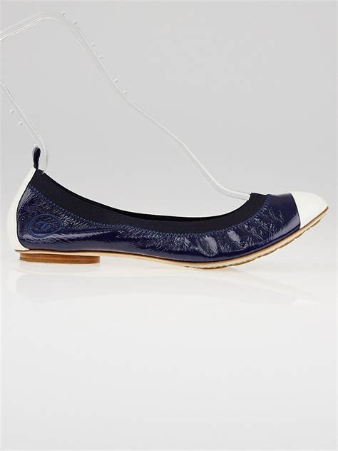 chanel shoes ballet flats chanel navy blue patent leather elastic ballet flats size