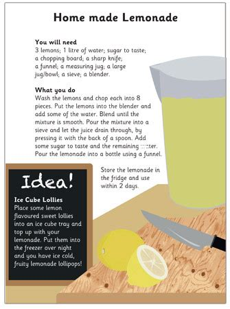 new year recipes ks1 lemonade recipe free early years primary