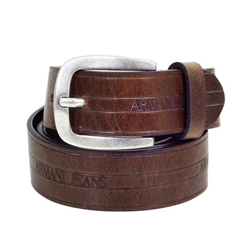 casual brown leather belts for by armani uk