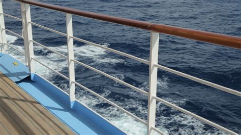 Ship Handrail railings of cruise ship at sea on day stock footage 5152313