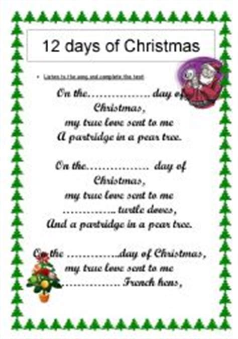 printable lyrics for 12 days of christmas search results for 12 days of christmas lyrics