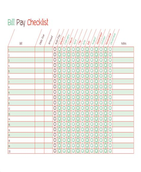 Bill Payment Schedule Template 12 Free Word Pdf Format Download Free Premium Templates Free Bill Payment Checklist Template