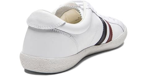 school sneakers moncler school leather sneakers in white for lyst