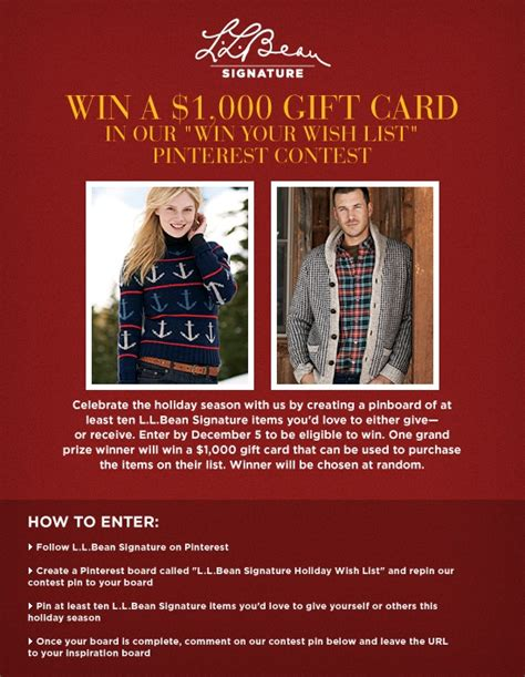 Where Can I Buy Ll Bean Gift Cards - l l bean signature 1000 gift card giveaway terms and conditions http www llbean com