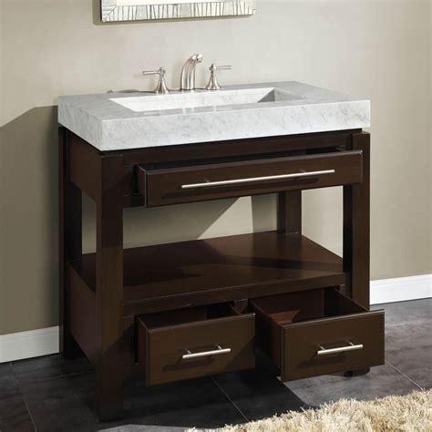 "Silkroad Exclusive 36"" Single Sink Cabinet   Carrara White"