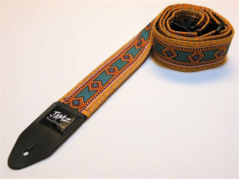 Handmade Guitar Straps - guitar handmade two sided tribal inca