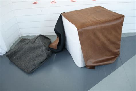 pleather couch cover diy faux leather ottoman update merrypad