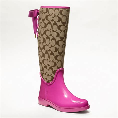couch rain boots coach tristee rainboot in pink lyst