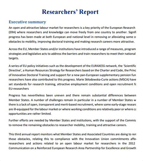 research report template sle research report 6 documents in pdf