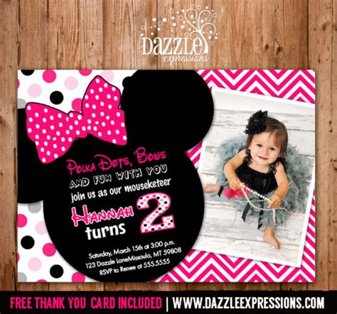 Printable Minnie Mouse Birthday Invitation Girls First Or Second Birthday Party Free Thank Minnie Mouse 2nd Birthday Invitations Template