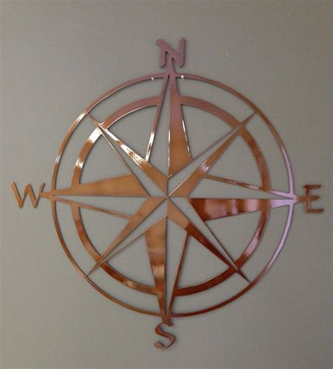 Nautical Compass Wall Nautical Decor Nautical Compass Metal Wall 24 Copper Colored