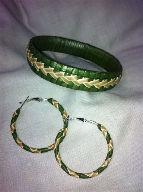 Matching Woven Bracelet woven lauhala bracelet and matching earring set by