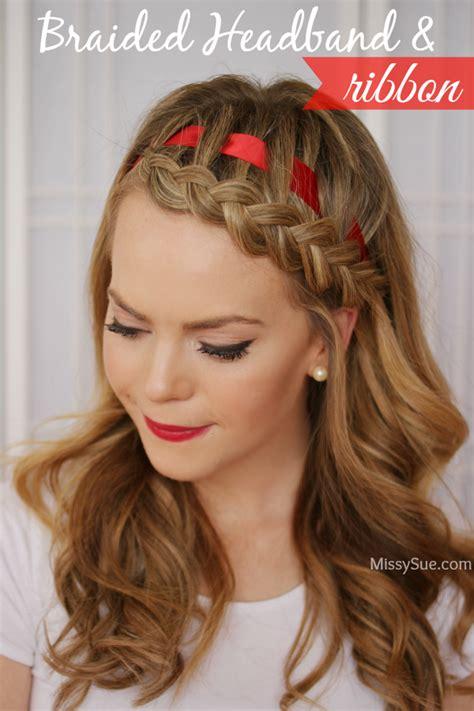 hairstyles with headband braids dutch braided headband with a ribbon missy sue