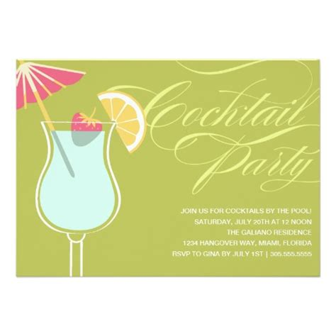 cocktail invitation cards summer cocktails invitation card