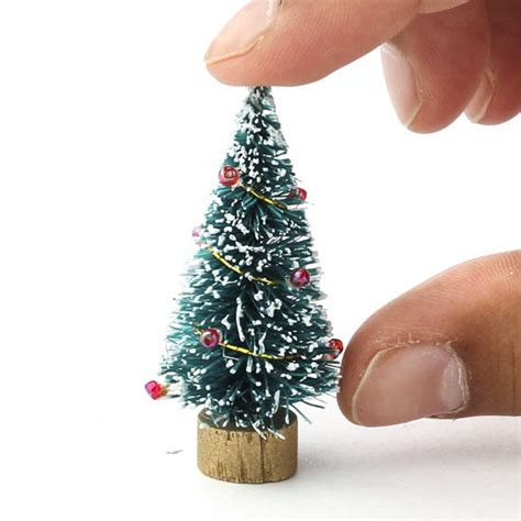 miniature decorated bottle brush tree christmas