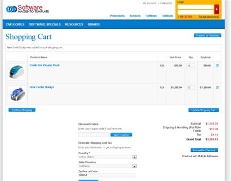 shopping cart template for customize magento 2 shopping cart page