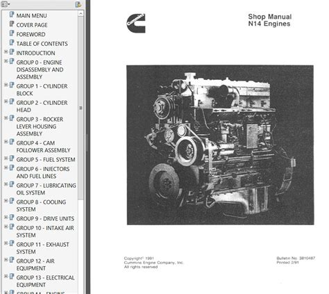 motor manuals cummins n14 engines shop troubleshooting repair manual