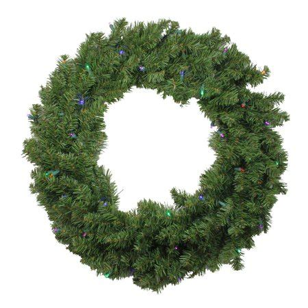 walmart pre lit wreath with battery and timer 24 quot battery operated canadian pine led artificial wreath multi lights walmart