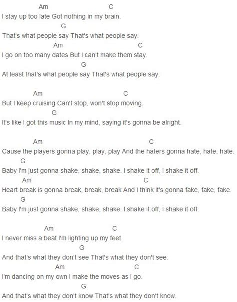 taylor swift chords come back be here taylor swift shake it off chords music lyrics