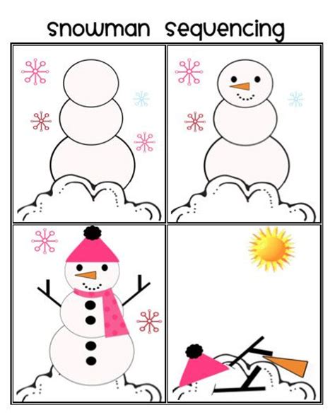 printable snowman activities for preschool snowman sequencing part of winter unit repinned by sos