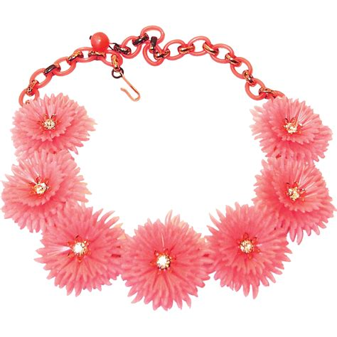 Kn71739 Kalung Choker Layer Pink Flower pink lisner flower necklace plastic with rhinestone