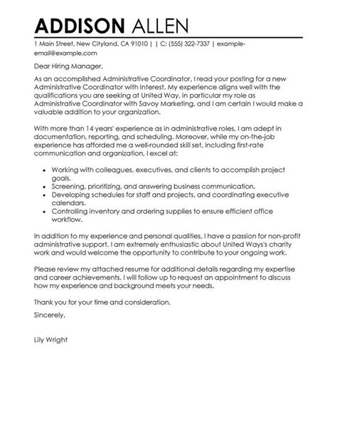 administrative coordinator cover letter exles administration office support cover letter