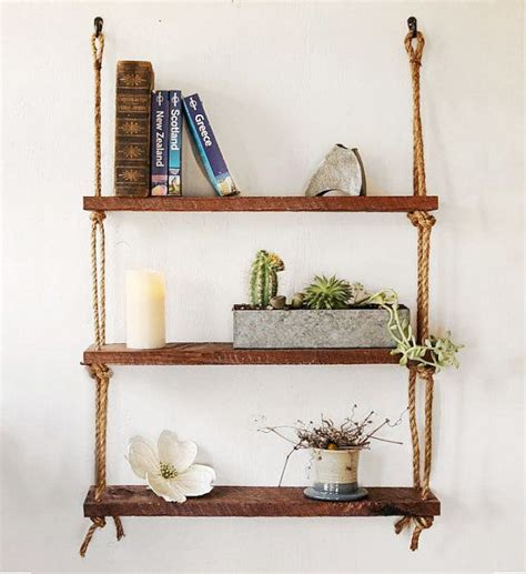 hanging shelf three rope shelves hanging barn wood