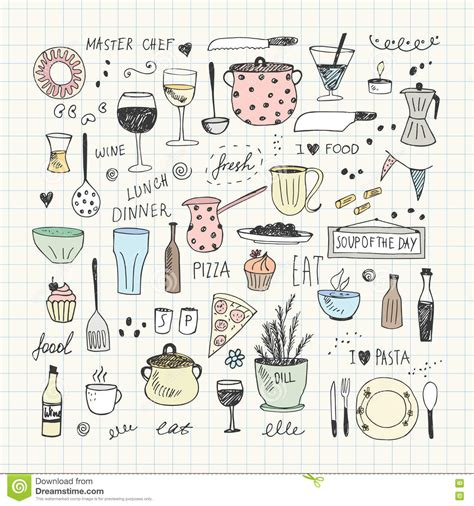 how to use doodle kit kitchen tools doodle set vector illustration