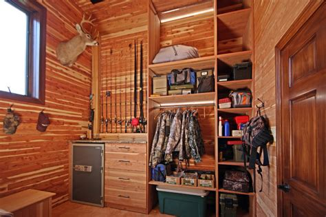 Bass Pro Home Decor hunting closet in garage addition rustic entry st